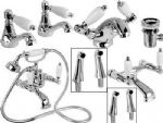 POLISHED CHROME GEORGIAN BATH SHOWER BASIN SINK MIXER TAP CERAMIC LEVER TAPS